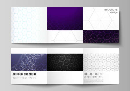 Vector layout of square format covers design templates for trifold brochure. Digital technology and big data concept with hexagons, connecting dots and lines, polygonal science medical background. Ilustração