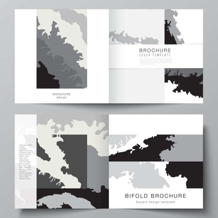 Vector layout of two covers templates for square design bifold brochure, flyer, magazine, cover design, book design, brochure cover. Landscape background decoration, halftone pattern grunge texture.