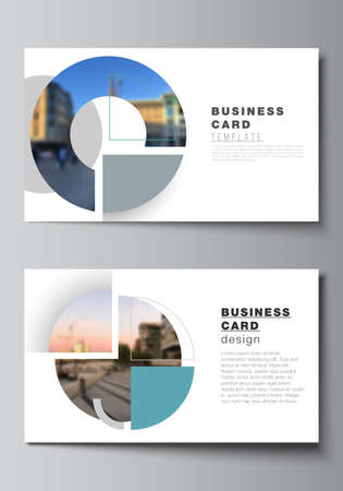 Vector layout of two creative business cards design templates, horizontal template vector design. Background with abstract circle round banners. Corporate business concept template.