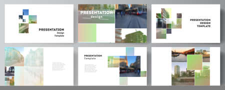 Vector layout of the presentation slides design business templates, multipurpose template for presentation brochure, brochure cover. Abstract project with clipping mask green squares for your photo.