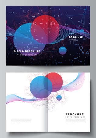 Vector layout of two A4 cover mockups templates for bifold brochure, flyer, magazine, cover design, book design. Artificial intelligence, big data visualization. Quantum computer technology concept.
