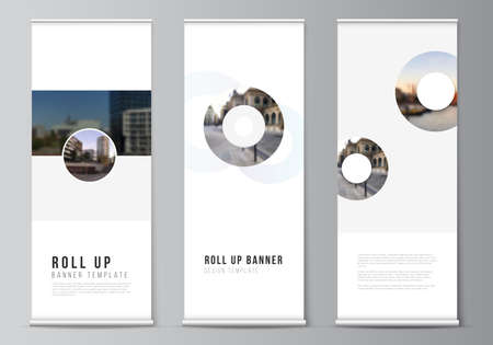 Vector layout of roll up mockup templates for vertical flyers, flags design templates, banner stands, advertising design mockups. Background template with rounds, circles for IT, technology.