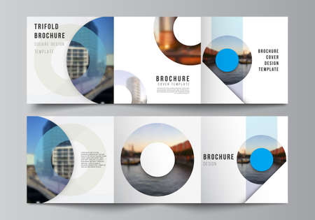 Vector layout of square covers templates for trifold brochure, flyer, magazine, cover design, book design, brochure cover. Background template with rounds, circles for IT, technology in minimal style.