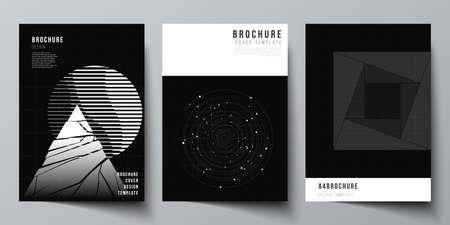 Vector layout of A4 cover design templates for brochure, flyer layout, booklet, cover design, book design. Black color technology background. Digital visualization of science, medicine, tech concept. Ilustración de vector