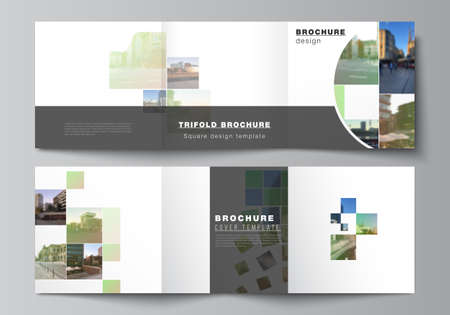 Vector layout of square format covers design templates for trifold brochure, flyer, cover design, book design, brochure cover. Abstract project with clipping mask green squares for your photo.