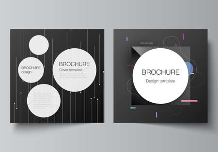 Vector layout of two square format covers design templates for brochure, flyer, magazine, cover design, book design, brochure cover. Tech science future background, space astronomy concept.