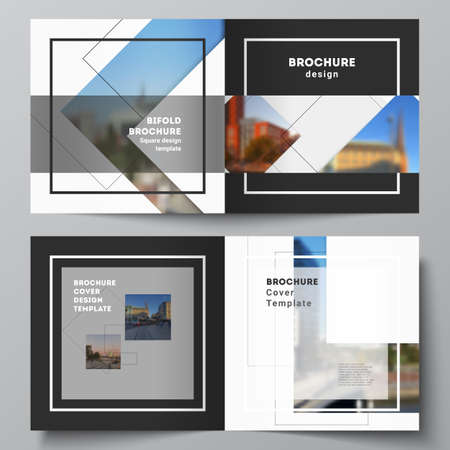Vector layout of two covers templates with geometric simple shapes, lines and photo place for square design bifold brochure, flyer, magazine, cover design, book, brochure cover.