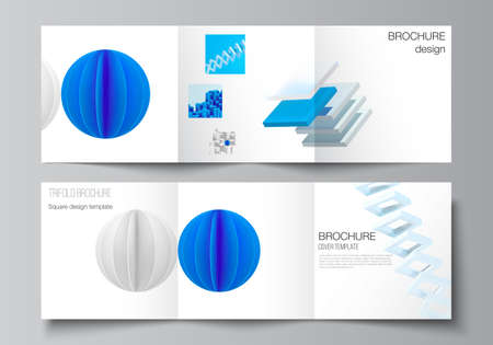 Vector layout of square covers design templates for trifold brochure, flyer, magazine, cover design, book design. 3d render vector composition with dynamic realistic geometric blue shapes in motion. Vetores