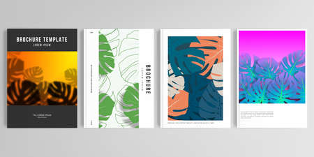 Realistic vector layouts of cover mockup design templates for A4 brochure, cover design, flyer, book, poster. Tropical palm leaves, shadow of tropical jungle leaves. Floral pattern backgrounds.