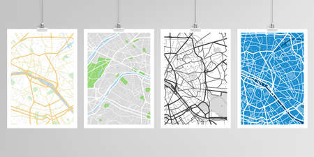 Realistic vector layouts of A4 format mockup design templates with urban city map of Paris for brochure, flyer, cover design, book, magazine, brochure, poster.