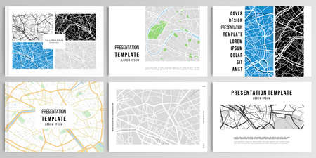 Vector layouts of presentation design templates with urban city map of Paris for brochure, cover design, flyer, book design, magazine, poster.  イラスト・ベクター素材