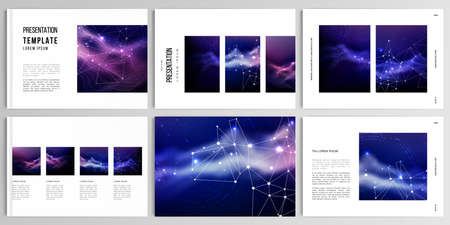 Vector layouts of presentation templates for brochure, cover design, flyer, book design, magazine, poster. Digital data visualization, polygonal science dark background. 版權商用圖片