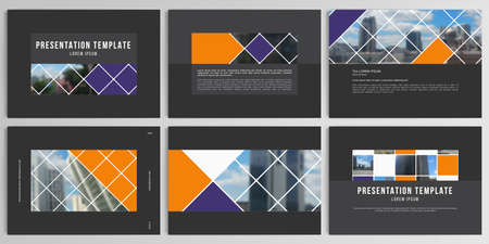 Vector layouts of presentation design templates for brochure, cover design, flyer, book design, magazine, poster. Abstract design project in geometric style with squares and place for photo.