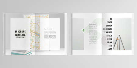 3d realistic vector layout of cover mockup design templates for A4 bifold brochure, cover design, book design, magazine, brochure cover. Home office concept, study or freelance, working from home. 矢量图像