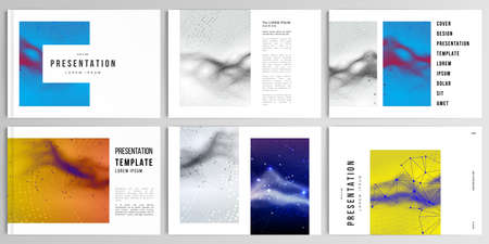 Vector layouts of presentation design templates for brochure, cover design, flyer, book design, magazine. Colorful wavy particle surface background for technology or science cyber space concept.