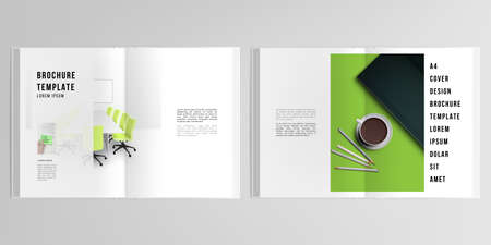 3d realistic vector layout of cover mockup design templates for A4 bifold brochure, cover design, book design, magazine, brochure cover. Home office concept, study or freelance, working from home.