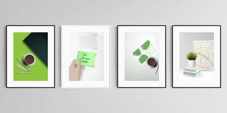 Realistic vector set of picture frames in A4 format isolated on gray background. Home office concept, study or freelance, working from home.