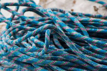 Texture of a blue climbing rope Stock Photo
