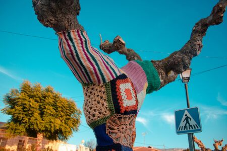 Tree with storm yarn. Artistic and creative street art. Colored wool in the trees. Street landscape