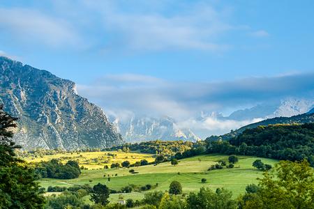 Meadows and mountains in Picos de Europa.Mountain landscape