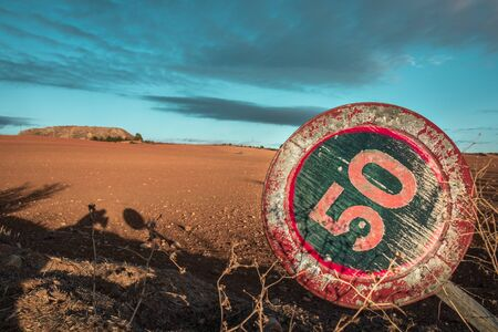 Landscape with a traffic sign. Travel concept Stock Photo - 96029248