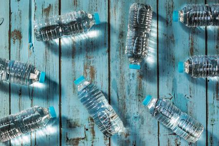 Bottles of mineral water. Plastic bottles