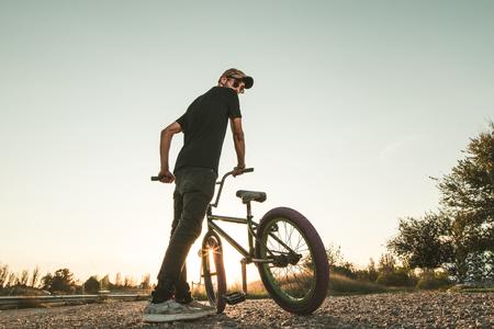 Guy riding a bmx bike. Extreme sports concept Stock fotó