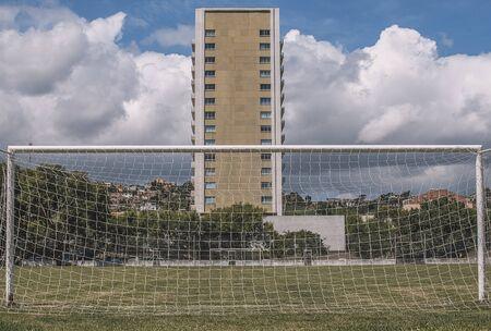Goalpost on an amateur football pitch. Banco de Imagens - 132042956