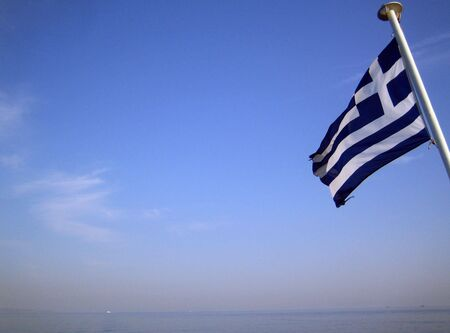 greek flag: Blue Greek flag in the sky