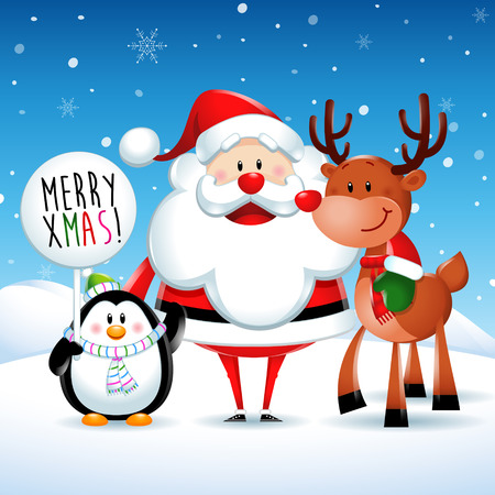 santa claus background: Merry Xmas, Santa Claus and friends stand up Illustration