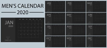 Minimalistic and clean, simple and stylish new year mens calendar 2020 vector. Black and shades of gray. Event and holiday planner. Week Starts Sunday. Basic grid.