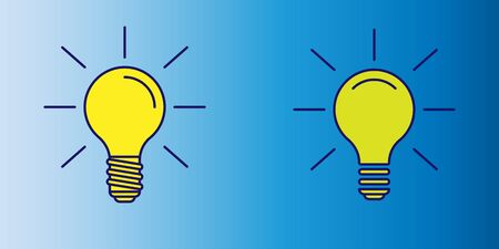 vector illustration of yellow lightbulb icon as symbol of idea on blue gradient background 일러스트