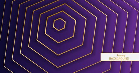 Luxery background. Pattern of gold elegant lines on a gradient purple background. Hexagon wallpaper vector illustration eps 10. Cover template, geometric shapes, modern minimal banner. 일러스트