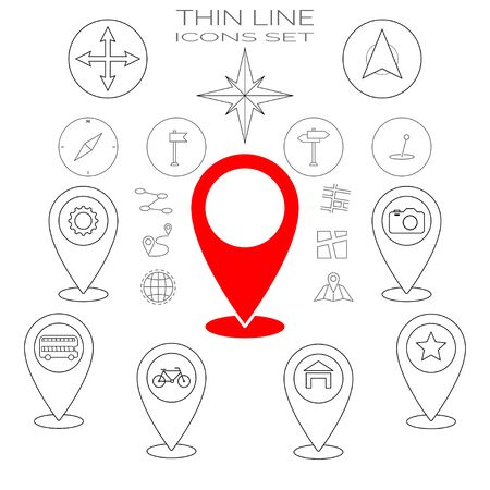 Thin line icons set. Red icon here and home gps geo location, navigation, transportation. Bus and bycycle transport, compas. Map pointer pin icons. EPS 10 Vector illustration