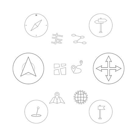 Thin line icons set. Gps geo location, navigation and transportation. Map pointer pin icons. EPS 10 Vector illustration