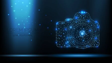 Abstract vector wireframe SLR photo camera. 3d modern illustration on dark blue background. Low polygonal mesh art looks like constellation night sky with dots and stars. bright light from particles