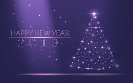 Abstract Christmas tree frame of bright light from particles on a popular purple background as symbol of Happy New Year, Merry Christmas holiday celebration. Low polygonal mesh art vector illustration