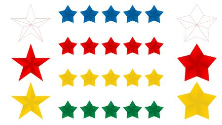 Stars five icon on a white background, vector illustration. 5 Red blue yellow gold and thin line stars. EPS 10 vector illustration on a white background. 일러스트