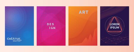 Creative solutions Design Art Lorem Ipsum text in abstract color gradient shapes background. Set of covers, brochures, flyer. Cool backgrounds, gradient backgrounds, minimal flat design. Dot and line 일러스트