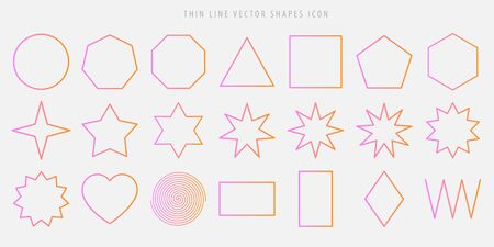 Thin line vector shapes icon set. circle, square, triangle, polygon, star, heart, spiral, rhombus, zigzag outline figures in the popular pink color gradient.  일러스트