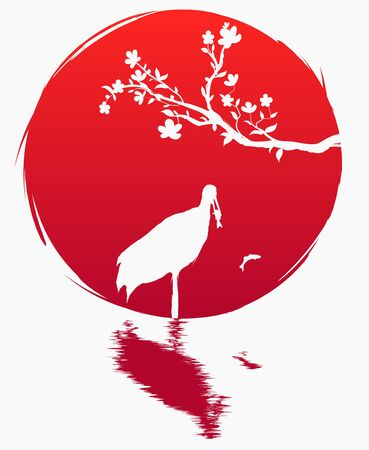 Grunge style flag of Japan. A branch with sakura flowers and a Japanese crane with fish on the background of the red sun. Sakura and Red - crowned crane. Grus japonensis. T-shirt print. Spring.