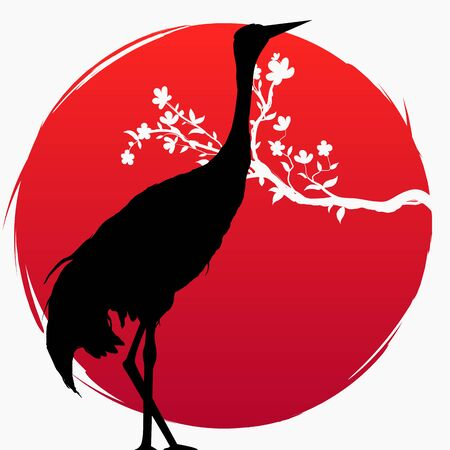 A branch with sakura flowers and a Japanese crane on the background of the red sun. Multi-exposure Sakura and Red - crowned crane. Grus japonensis. Vector. T-shirt print. Spring. Double-exposure
