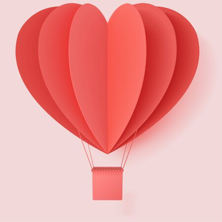 Happy valentines day typography vector illustration design with paper cut red heart shape origami made hot air balloons flying in sky background. Living coral colors. paper art and digital craft style
