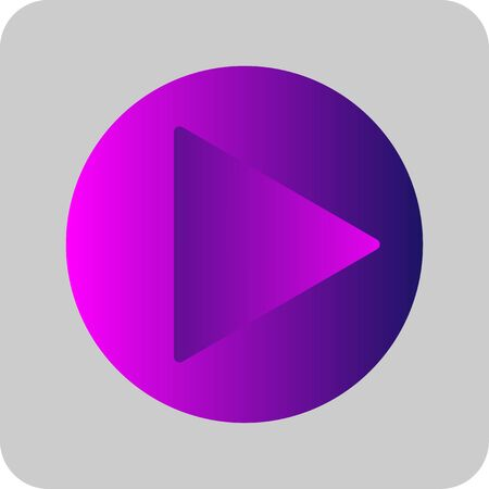 Play button sign colorful purple, pink and blue gradient thin line icon. Flat style on transparent gray background. Eps 10 vector illustration.
