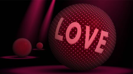 Valentines day abstract arts. Text love on red balls with golden pink hearts textures. Love is coming Illustration