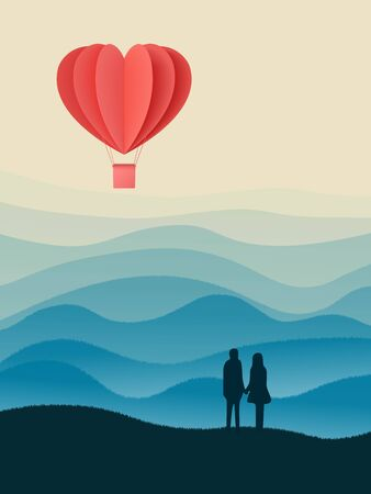 Happy valentines day double exposure vector illustration with paper cut red heart shape origami made hot air balloons flying in sky background . Living coral colors. paper art and digital craft style Illustration