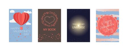 Collections of cards for Happy Valentines day, My Book, you are my universe. Typography poster, card, label, banner design set. Vector illustration EPS10