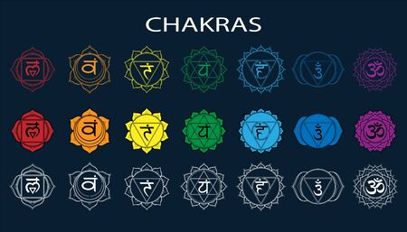 Chakras set: muladhara, swadhisthana, manipura, anahata, vishuddha, ajna, sahasrara. Vector line symbol. Om sign on a black background Illustration