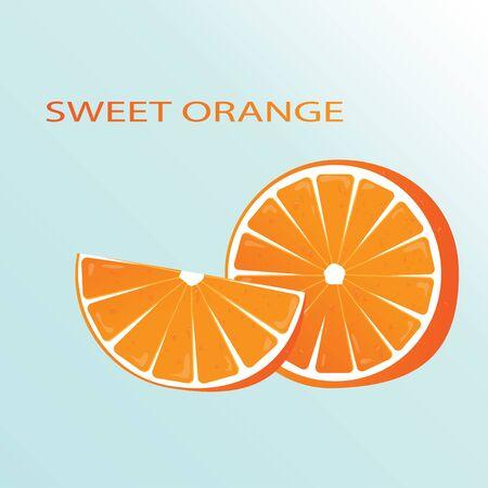 Sweet orange. Vector illustration of an orange on a blue background. Juicy and alluring fruit. EPS 10.