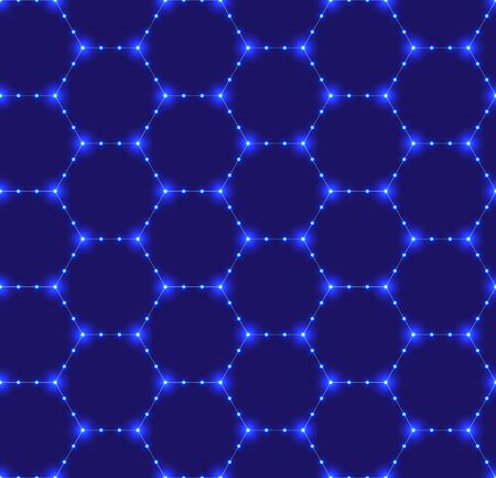 Seamless pattern of the hexagonal neon netting. Luminous particles. Futuristic texture. Geometric, modern, technology vector illustration background EPS 10 from the 70 80s style art line Illusztráció